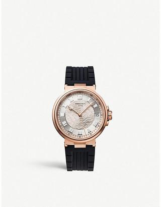 Breguet G5517BR129ZU Marine Date rose-gold and leather watch