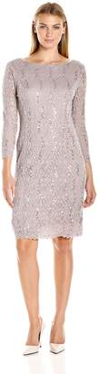 Tiana B Women's Sequin Scallop Lace Dress with Boat Tie AT Back Neck