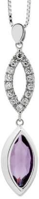 Burgmeister Jewelry Women's Necklace Rhodium-Plated Zirconia Purple 925 Sterling Silver-Jhe 1003–421