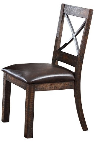 Acme ACME Earvin Side Dining Chair (Set of 2) - Weathered Cherry and Espresso PU