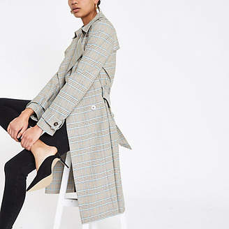 River Island Grey check double breasted trench coat