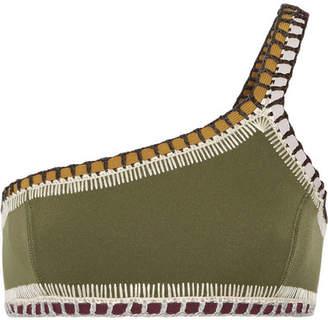 Kiini Wren One-shoulder Crochet-trimmed Bikini Top - Army green