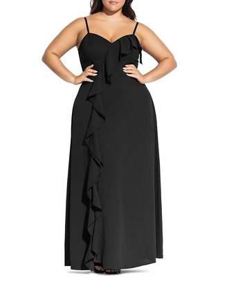 City Chic Plus Catalina Ruffle Gown