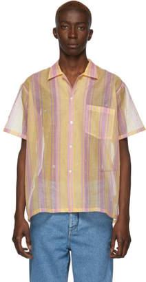 Bode Orange and Red Sheer Stripe Bowling Shirt