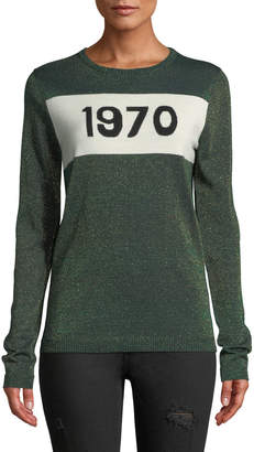 Bella Freud 1970 Metallic Graphic Wool Sweater