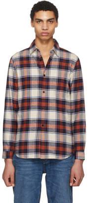 John Elliott Red and Navy Plaid Shirt