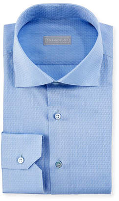 Stefano Ricci Tonal Pattern Cotton Dress Shirt