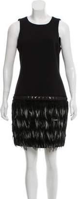MICHAEL Michael Kors Feather-Trimmed Mini Dress