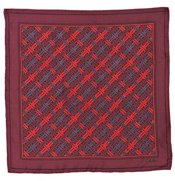 Cole Haan burgundy woven print silk scarf