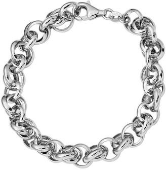 ING Italian Silver Interlocking Link Bracelet Sterling, 9.8g
