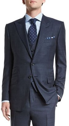 TOM FORD O'Connor Base Prince of Wales Three-Piece Suit, Navy $6,440 thestylecure.com