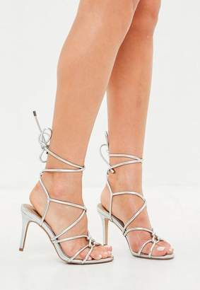 7d251e472 Free Shipping at Missguided · Missguided Silver Multi Strap Gladiator Mid  Heel Sandals