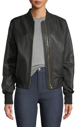 Moose Knuckles Grasslands Leather Bomber Jacket