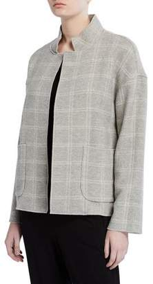 Eileen Fisher Heathered Wool-Blend High Collar Coat