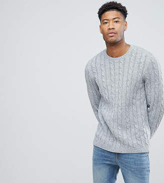Asos Tall Cable Knit Jumper In Grey