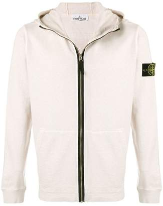 Stone Island zip logo hoodie