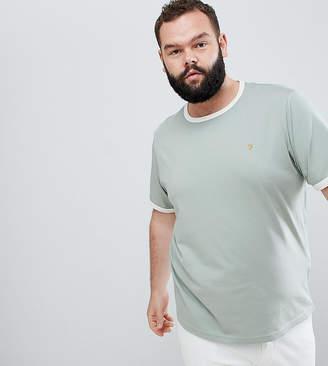 Farah PLUS Groves Slim Fit Ringer T-shirt in Light Green