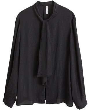 MANGO Jacquard flowy blouse