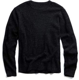 Todd Snyder Merino Waffle Crewneck Sweater in Black Marl