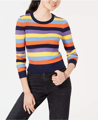 Freshman Juniors' Striped Rib-Knit Sweater