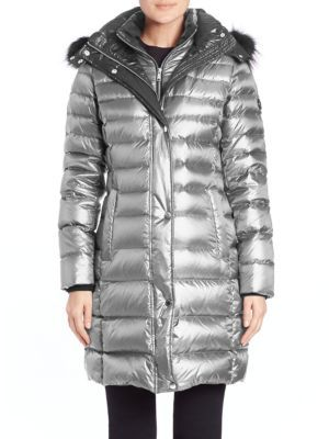 Gayle Fox Fur-Trimmed Puffer Coat $595 thestylecure.com