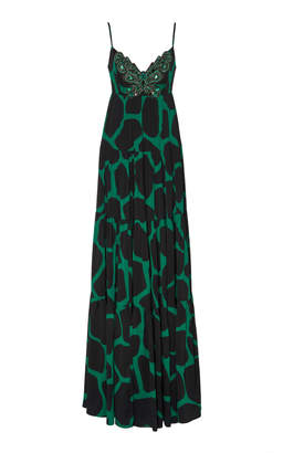 Andrew Gn Embellished Animal Print Satin Gown
