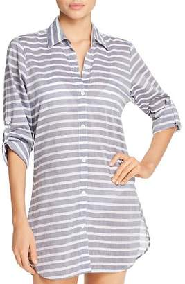 Tommy Bahama Breton Stripe Boyfriend Shirt Swim Cover-Up