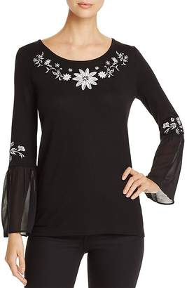 Avec Embroidered Bell Sleeve Top