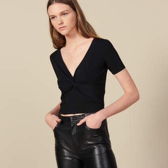 Sandro Ribbed Knit Cropped Top