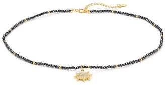 "Aqua Sterling Silver Starburst Choker Necklace, 14"""