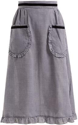 BATSHEVA Gingham ruffle-trimmed cotton skirt