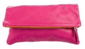 Clare Vivier Leather Fold-Over Zip Clutch
