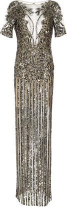 Naeem Khan Illusion V-Neck Sequin Embroidered Gown