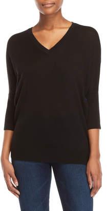 Derek Lam Printed Woven Back Dolman Sleeve Sweater