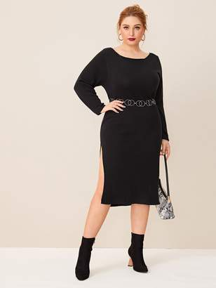Shein Plus Split Thigh Sweater Dress Without Ring