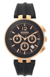 Versace VERSUS  Logo Chronograph Leather Strap Watch, 44mm