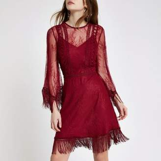 River Island Womens Dark red mesh lace fringe occasion dress