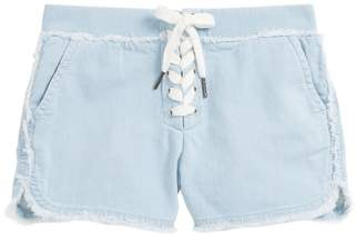 Tractr Lace-Up Athletic Chambray Shorts