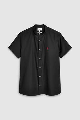 Next Mens Blue Short Sleeve Slim Stretch Oxford Grandad Shirt