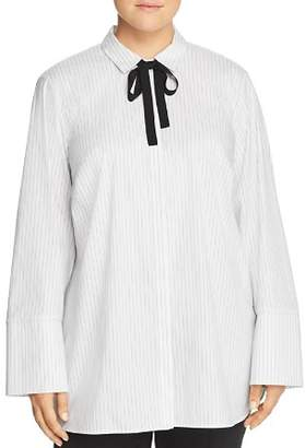 Lafayette 148 New York Plus Annaliese Pinstriped Tie-Neck Blouse