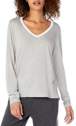 Michael Stars Ultra Jersey Contrast Trim Long Sleeve Cotton Blend Top