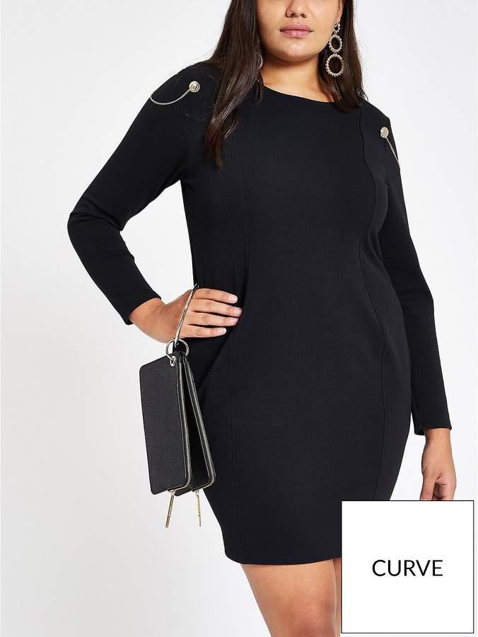 RI Plus RI Plus Shoulder Detail Bodycon Dress - Black