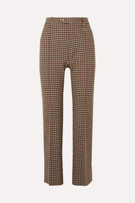 Chloé Cropped Checked Woven Straight-leg Pants - Brown