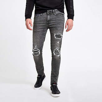 River Island Washed black super skinny ripped jeans