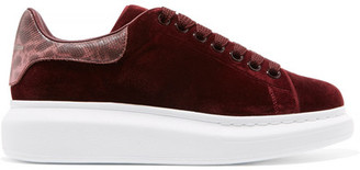 Alexander McQueen - Snake-trimmed Velvet Exaggerated-sole Sneakers - Burgundy $575 thestylecure.com