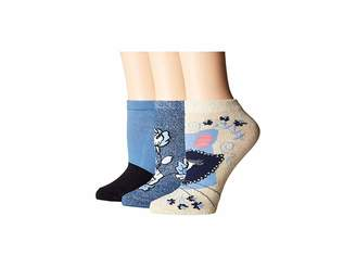 Kate Spade Raccoon Patch 3-Pack No Show Socks