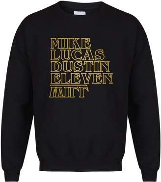 Eleven Paris Kelham Print Mike, Lucas, Dustin, Eleven, Will - Black - Unisex Fit Sweater - Fun Slogan Jumper