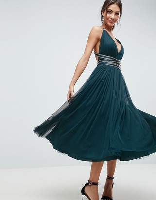 Asos DESIGN PREMIUM Tulle Midi Prom Dress With Embellished Ribbon Ties