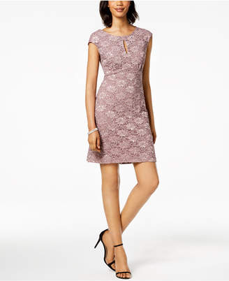 Connected Petite Embellished Lace Dress