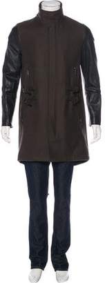 AllSaints Cleaver Leather-Trimmed Coat w/ Tags